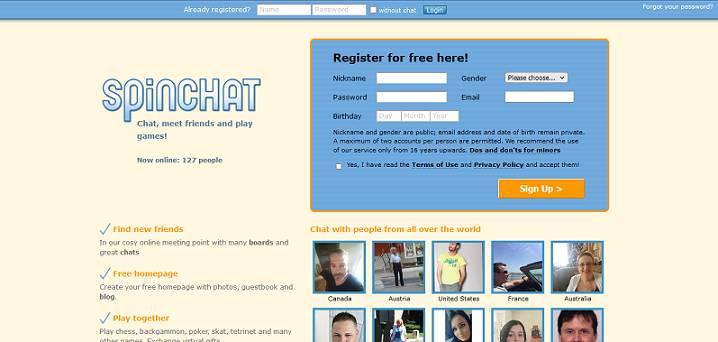Spinchat website
