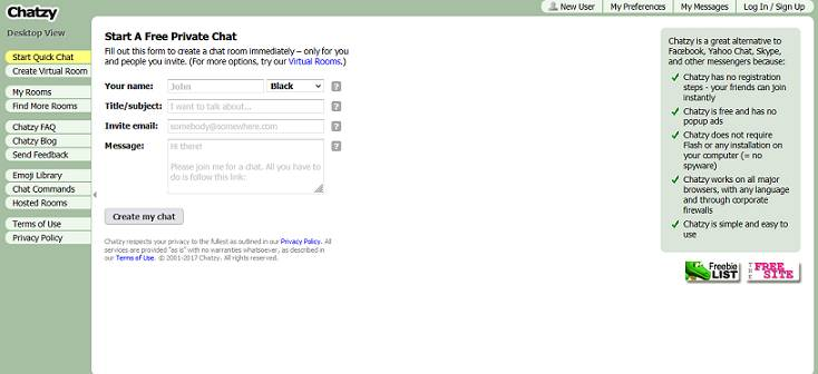Chatzy website